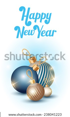 Happy New Year (Christmas decorations) - stock vector