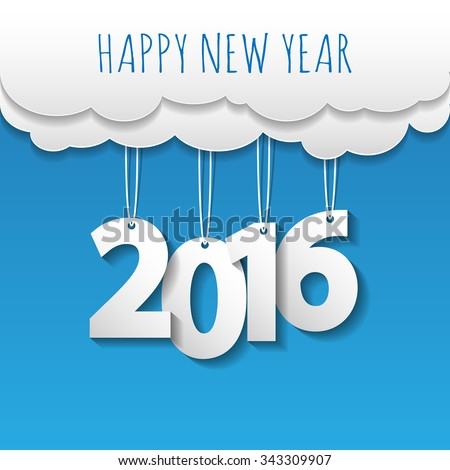 Happy new year 2016 cloud and sky background .Vector/illustration. - stock vector