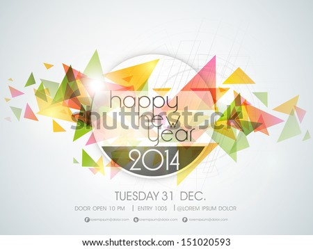 Happy New Year 2014 colorful celebration party poster, banner or invitations.  - stock vector