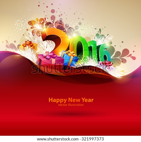 Happy new year 2016. Colorful design. - stock vector