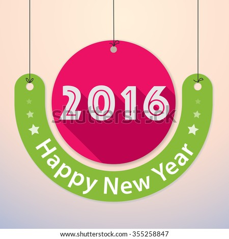 Happy New Year 2016 - Colourful Paper Tag Design - stock vector