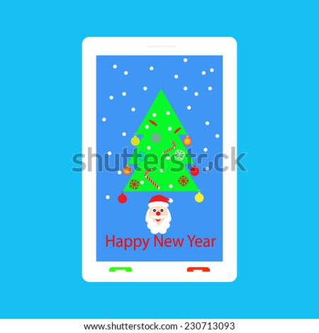 Happy New Year - congratulations on your mobile phone. - stock vector