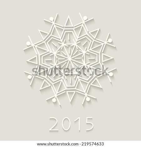 Happy new year 2015 creative greeting card. Cut-paper snowflake. Background for winter and christmas theme. Vector illustration. EPS10.  - stock vector