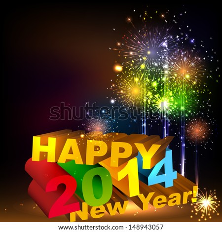 Happy New Year 3d message composition. Salute- vector isolated on black background - stock vector