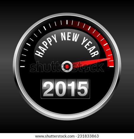 Happy New Year 2015 Dashboard Background - speedometer dial and odometer.  EPS10 file with transparency.  - stock vector