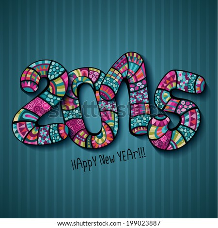 Happy New Year 2015. Decorative hand drawn numbers - stock vector