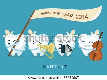 Happy new year dentist - stock vector