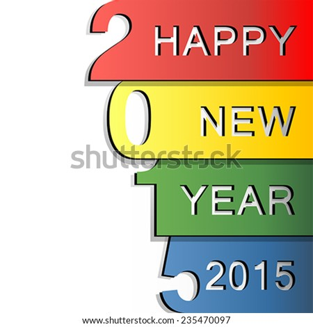 Happy New Year 2015 design greeting card - stock vector