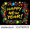 happy new year design (happy new year greeting card or background) - stock vector