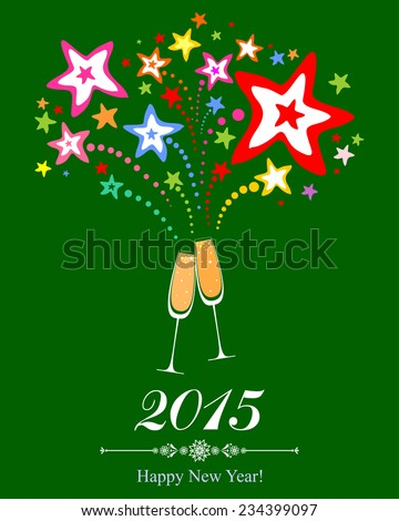 Happy new year 2015! Firework and Two Glasses in green background. Vector Illustration  - stock vector