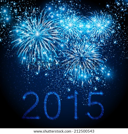 Happy New Year 2015 fireworks background, easy editable - stock vector