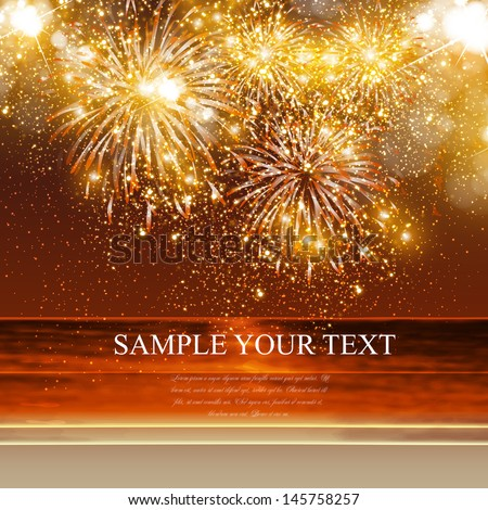 Happy New Year fireworks background in summer, easy all editable - stock vector