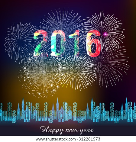 Happy new year fireworks 2016 holiday background design - stock vector