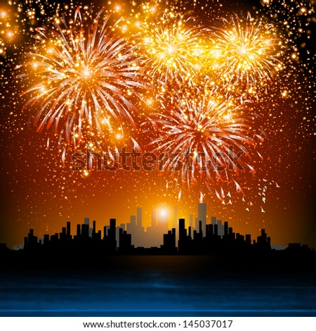 Happy New Year fireworks, night town  easy all editable - stock vector