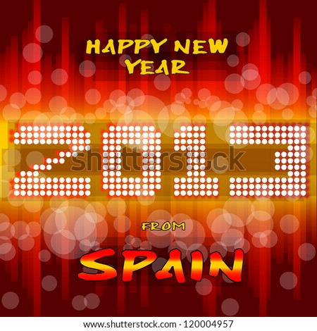 Happy New Year 2013 from Spain Happy new year's eve with a multicolored background, bright text like little light ball and the colors of the spanish flag, yellow and red. Spain. - stock vector