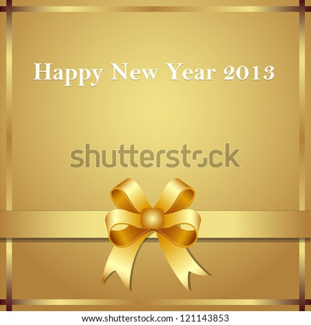 Happy new year 2013 gold bow - stock vector
