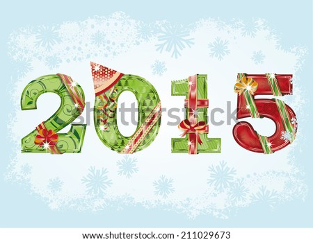 Happy New 2015 Year greeting background. vector illustration - stock vector