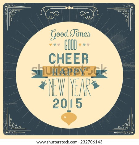 Happy new year greeting card - stock vector