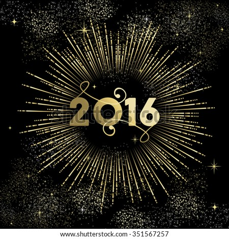 Happy New Year 2016 greeting card design, gold firework explosion with star and sparkles. EPS10 vector. - stock vector