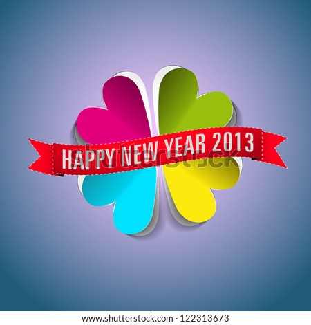 Happy New year 2013 greeting card in paper style - hear fourleaf - vector illustration - stock vector