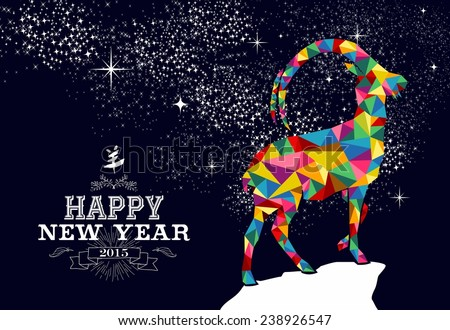 Happy new year 2015 greeting card or poster design with colorful triangle chinese goat shape and vintage label illustration. EPS10 vector file. - stock vector