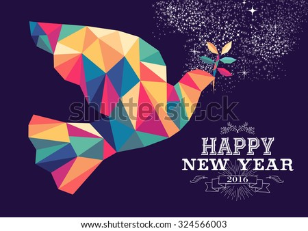 Happy new year 2016 greeting card or poster design with colorful triangle peace dove and vintage label illustration. EPS10 vector.