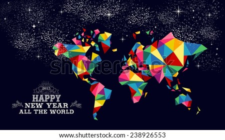 Happy new year 2015 greeting card or poster design with colorful triangle world map and vintage label illustration. EPS10 vector file. - stock vector