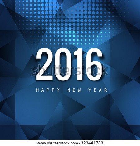 Happy New Year 2016 greeting card triangular blue colorful  vector - stock vector