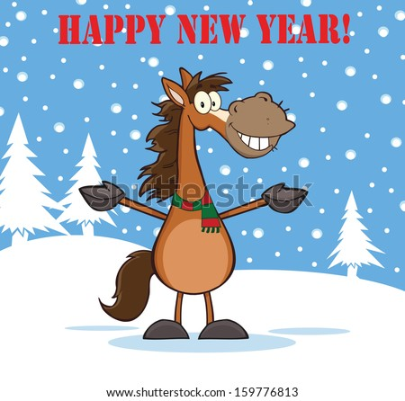 Happy New Year Greeting With Smiling Horse Cartoon Mascot Character Over Winter Landscape. Vector Illustration   - stock vector