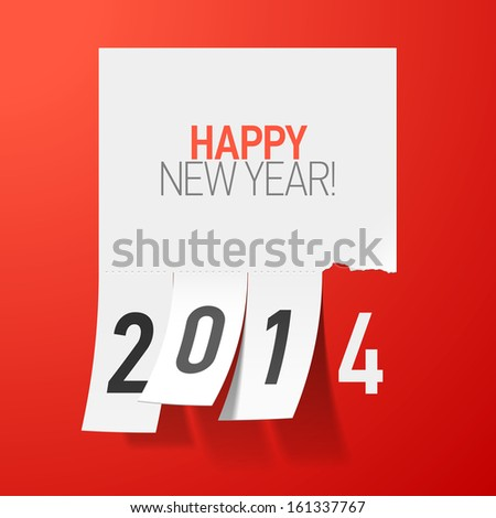Happy New Year 2014 greetings. Vector. - stock vector