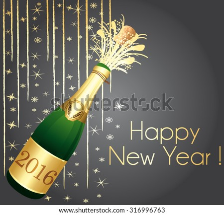 Happy New Year grey and gold greeting card. Vector illustration. - stock vector