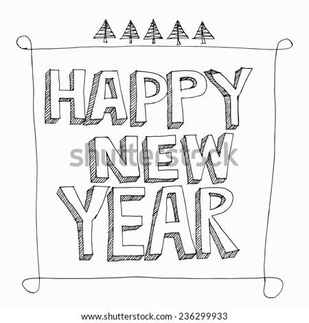 Happy New Year hand lettering  - stock vector