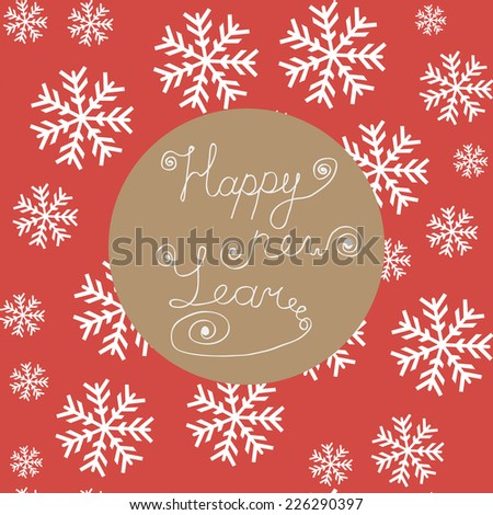 HAPPY NEW YEAR hand lettering, vector illustration - stock vector