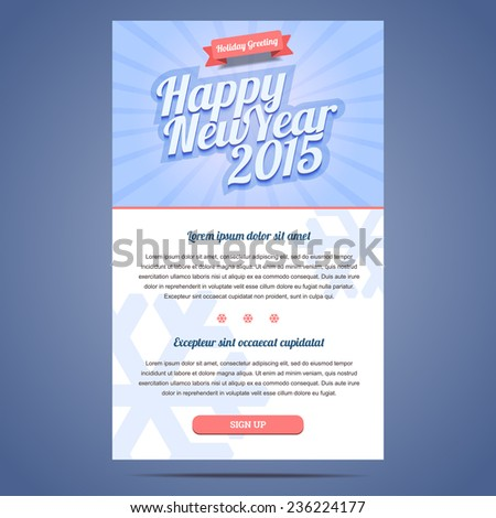 Happy New Year Holiday Greeting email template in flat style. Vector illustration. - stock vector