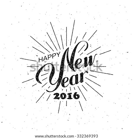Happy New 2016 Year. Holiday Vector Illustration With Lettering Composition with burst - stock vector