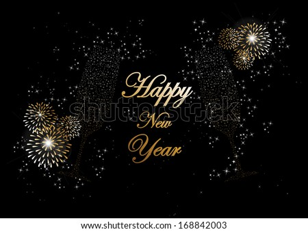 Happy new year 2014 holidays champagne flute glass with fireworks sparkles greeting card background. EPS10 illustration organized in layers for easy editing. - stock vector