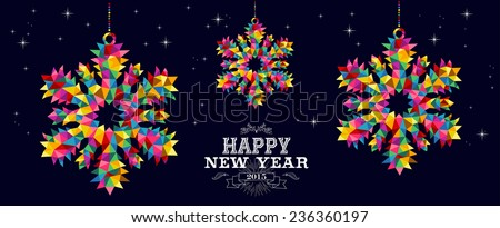 Happy new year 2015 holidays contemporary invitation card design background with triangle snowflakes. EPS10 vector file organized in layers. - stock vector