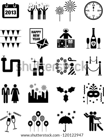 Happy New Year icons - stock vector