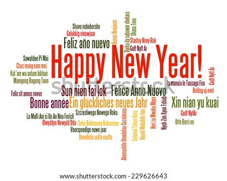 Happy New Year in different languages. Words cloud - stock vector