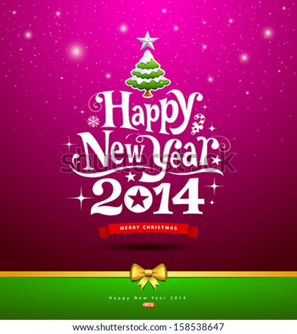 Happy New Year, lettering Greeting Card, vector illustration - stock vector