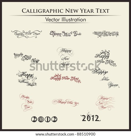 Happy new year lettering or typography by twelve styles of a writing on a simple background. - stock vector
