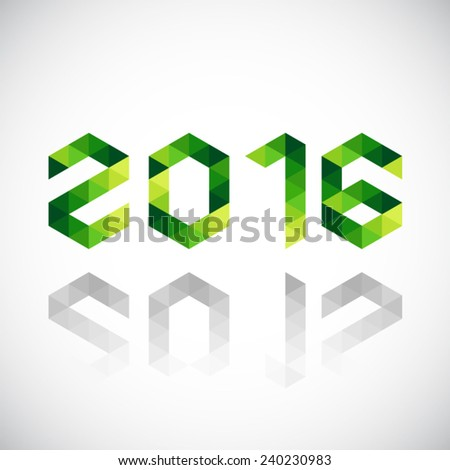 Happy New Year 2016 made in polygonal origami style - 2015 change to 2016 - stock vector
