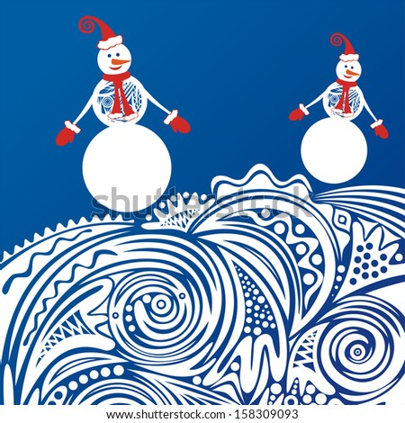 Happy new year merry christmas card snowmen winter pattern background vector illustration - stock vector