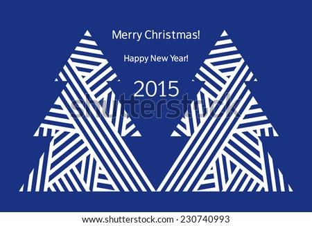 Happy New Year. Merry Christmas. Christmas trees. Christmas card. Vector illustration. - stock vector