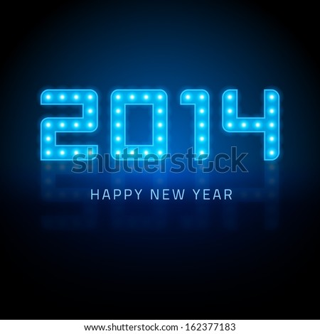 Happy New Year - 2014 message from light design vector background. Happy new year text and numbers greeting card.  - stock vector