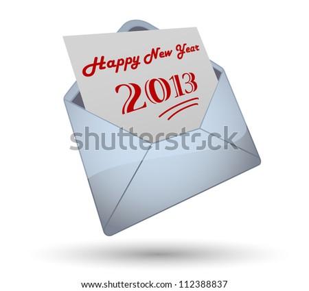 Happy New Year 2013 Opening Envelope - stock vector