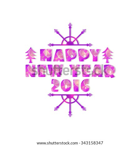 Happy New Year origami text for new year celebrations. - stock vector