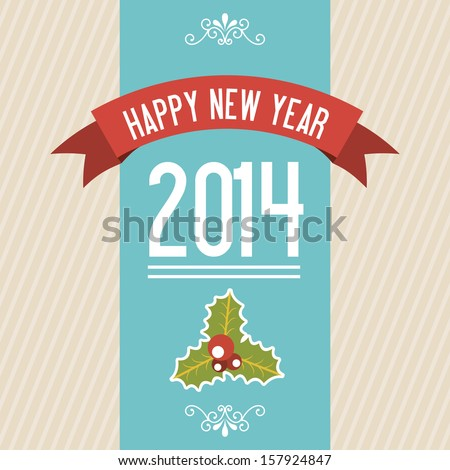 happy new year 2014 over lineal  background  vector illustration  - stock vector