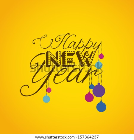 happy new year over yellow background  vector illustration  - stock vector