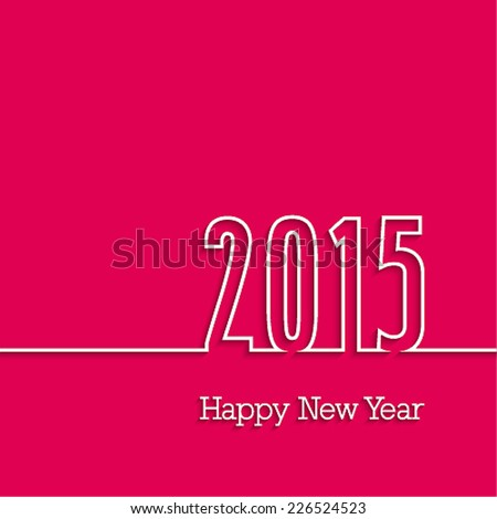 Happy new year 2015 paper postcard. Vector illustration. - stock vector